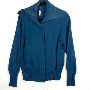 Sahalie Blue Heavy Cotton Blend Cardigan Sweater